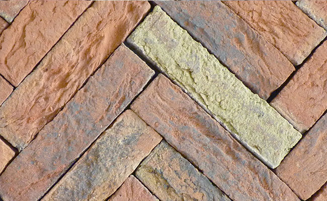 Orange, grey and yellow Romsey Antique - on edge brick pavers